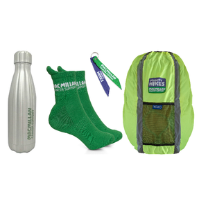 Mighty Hikes Bundle: Hiking Socks, Water bottle, Mighty Hikes Ribbon Keyring & Backpack Cover