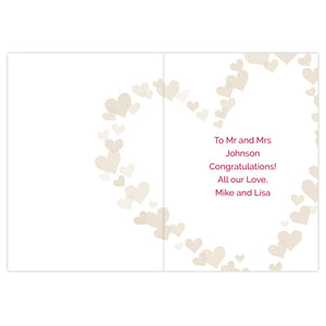 Personalised Confetti Hearts Wedding Card