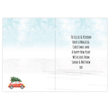 Personalised Driving Home for Christmas greeting card