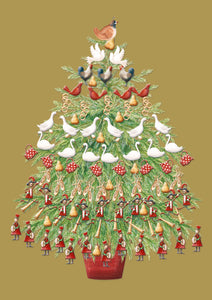 12 Days Tree Christmas Cards (Pack of 10)