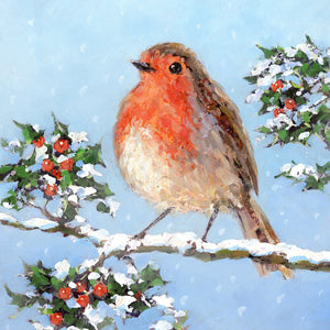 Holly Robin Christmas Cards (Pack of 10)