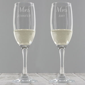 Personalised Classic Pair of Champagne Flutes