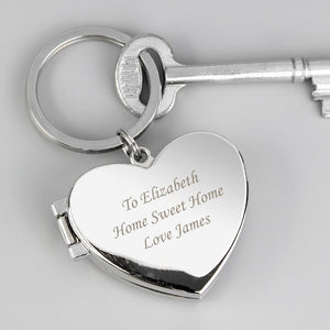 Personalised Silver Finish Locket Keyring