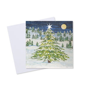 Moonlit Tree Christmas Card (Pack of 10)