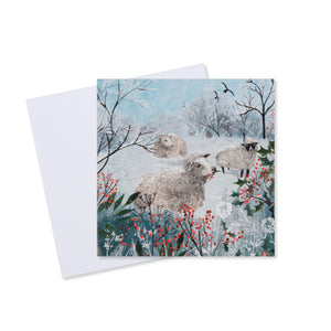 Sheep Snowy Scene Christmas Card (Pack of 10) - Welsh