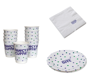 Coffee Morning Plate, Cups & Napkin Bundle