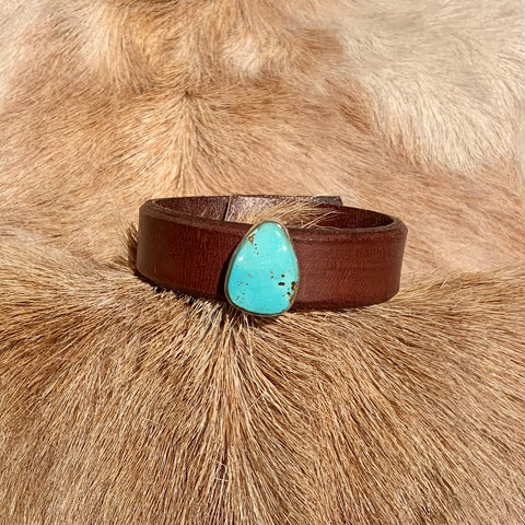 PBD KT Leather Bracelet with Turquoise Stone