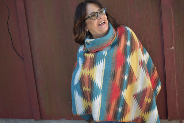 Rhonda Stark Button Collar Poncho