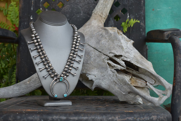 Authentic Sterling Silver and Turquoise Squash Blossom