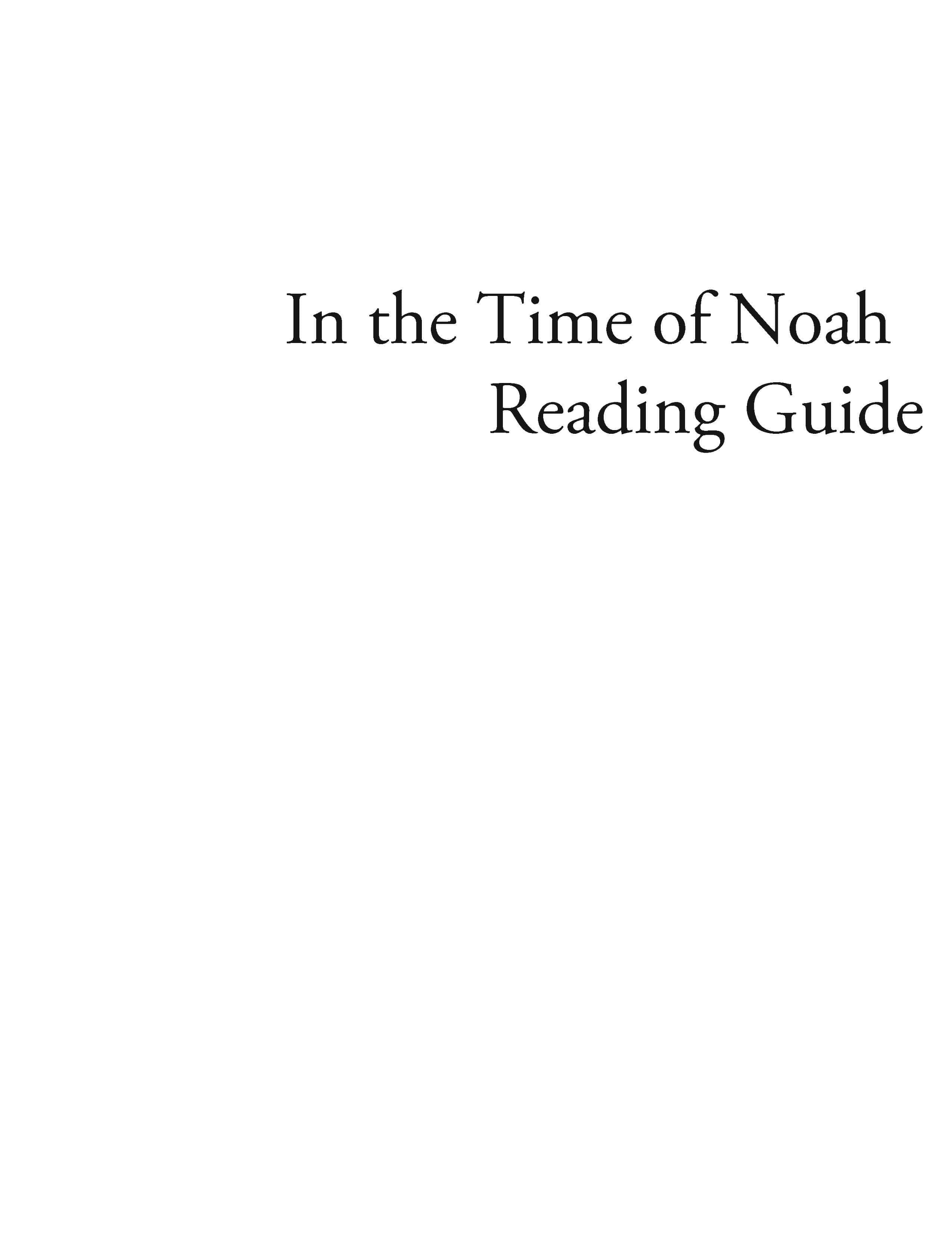 In the Time of Noah – Reading Guide (Download)