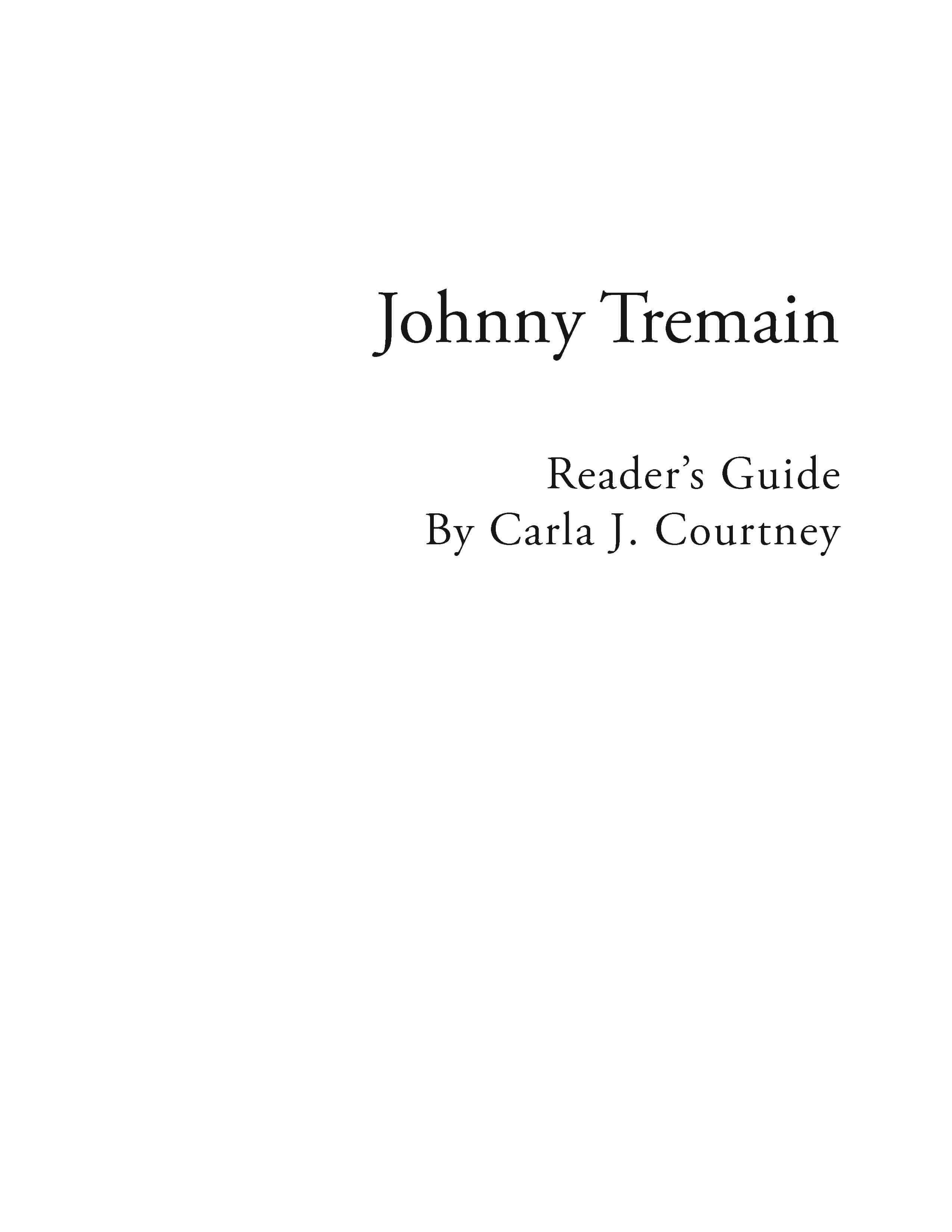 Johnny Tremain – Reading Guide (Download)