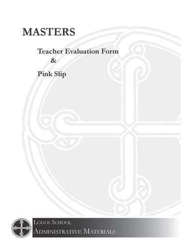 "Logos School – Teacher Evaluation Form & ""Pink Slip"" Masters (Download)"