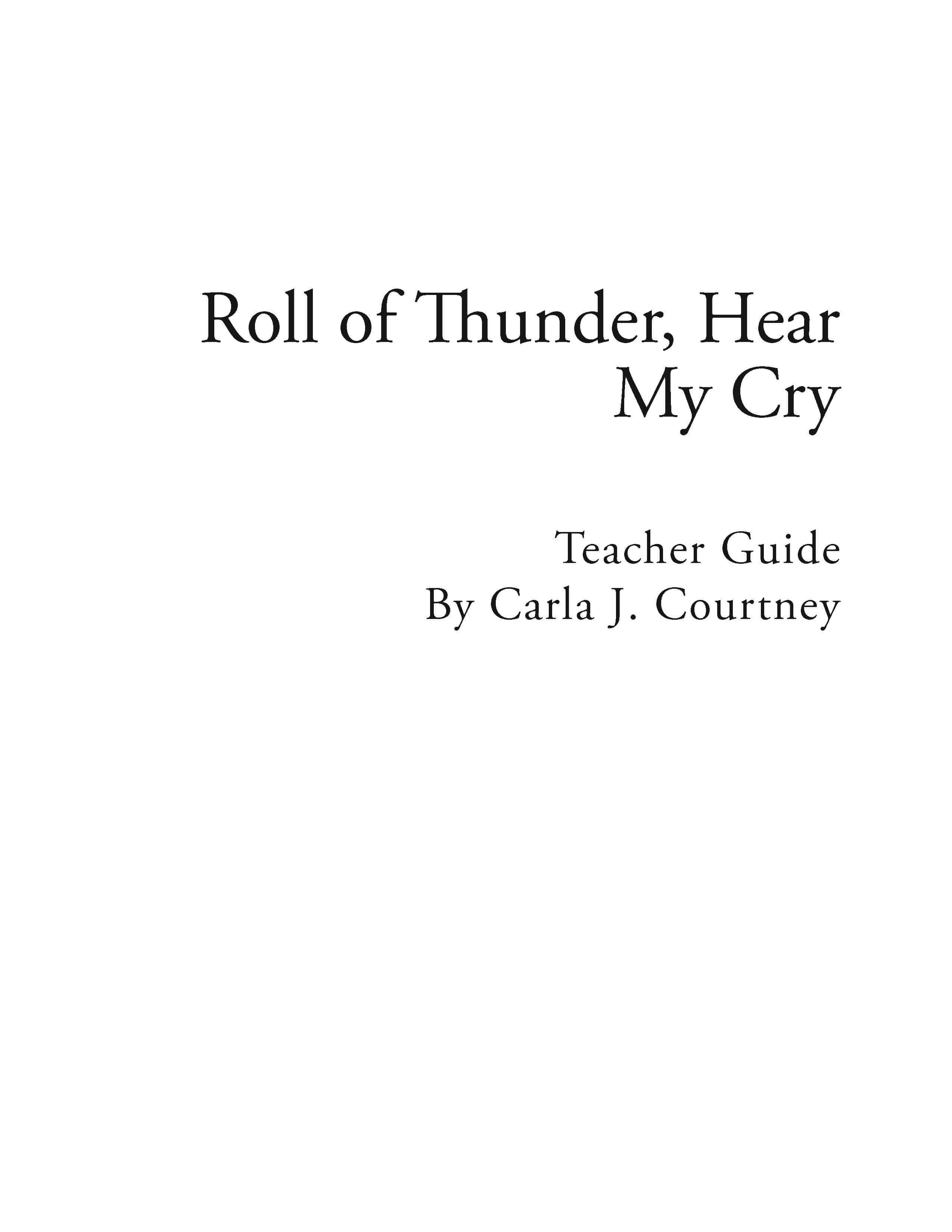 Roll of Thunder, Hear My Cry – Reading Guide (Download)