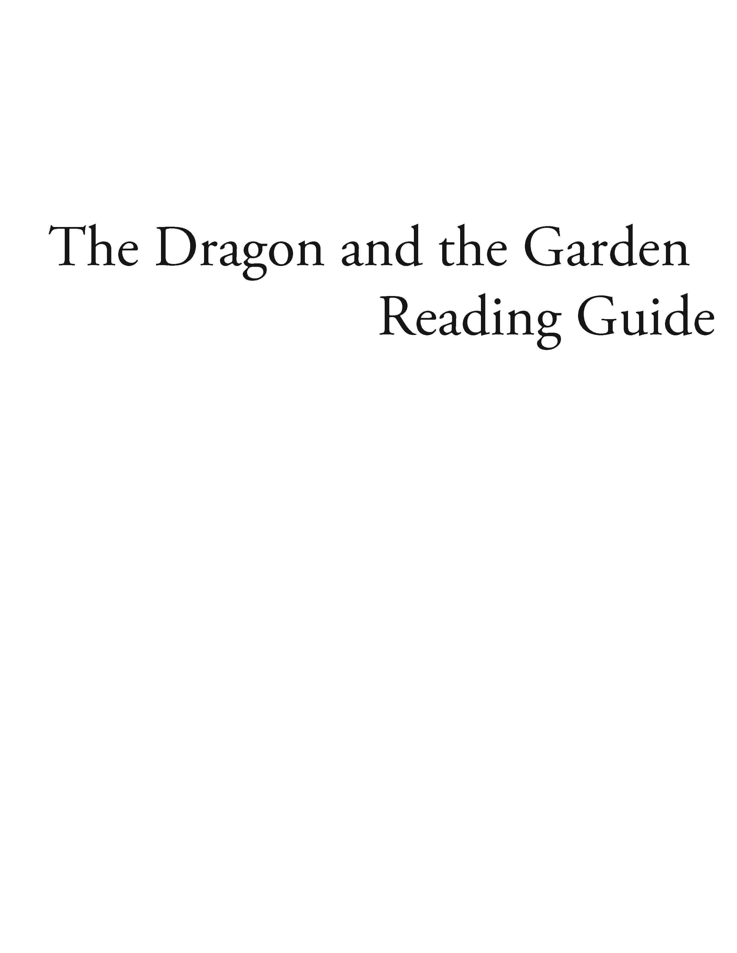 The Dragon in the Garden – Reading Guide (Download)