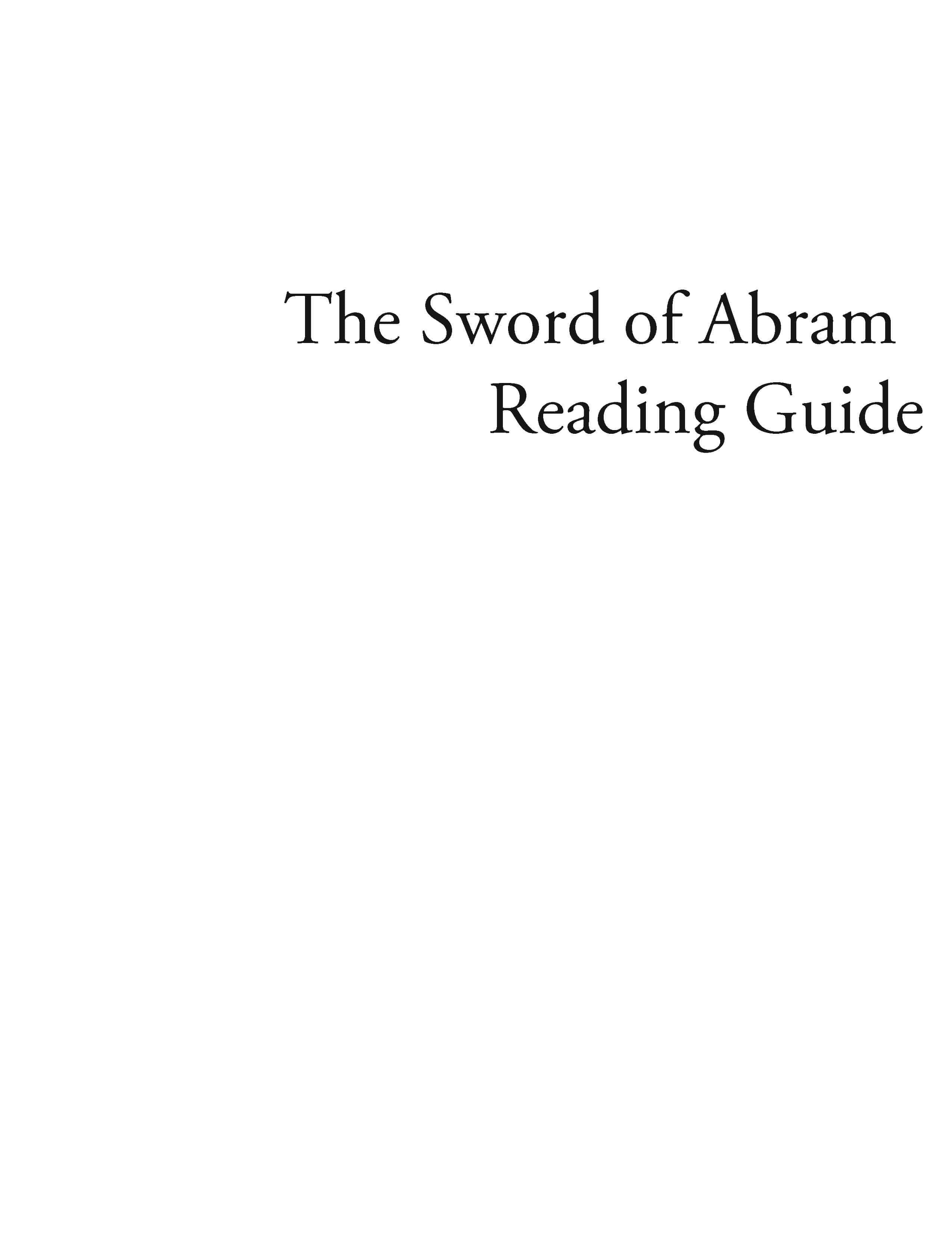 The Sword of Abram – Reading Guide (Download)