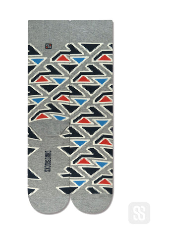 Chaossocks - Triangles-mens grey