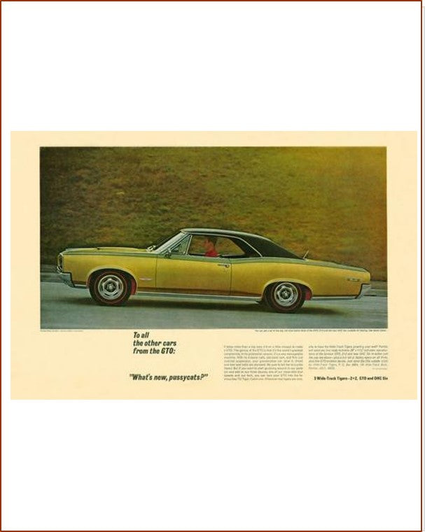 1967 GTO Whats New? GM ad Banner or Metal sign