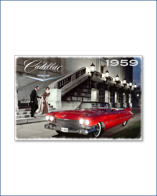 1959 Cadillac Red Metal Sign