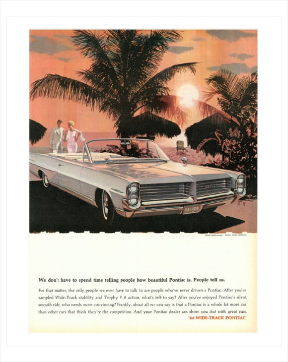 1964 Pontiac Bonneville Convertible GM ad Poster, Banner or Metal sign
