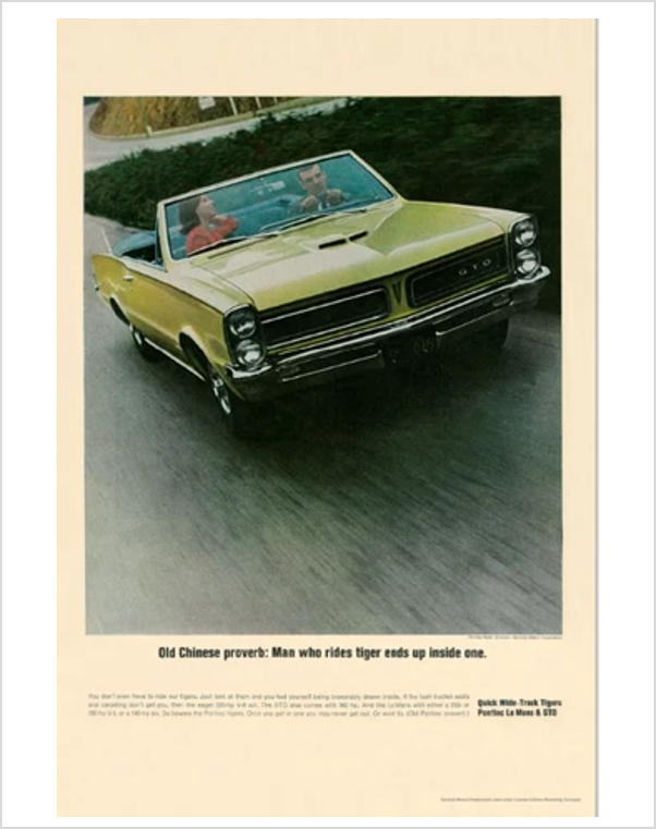 1965 GTO Chinese Proverb GM ad Banner or Metal sign