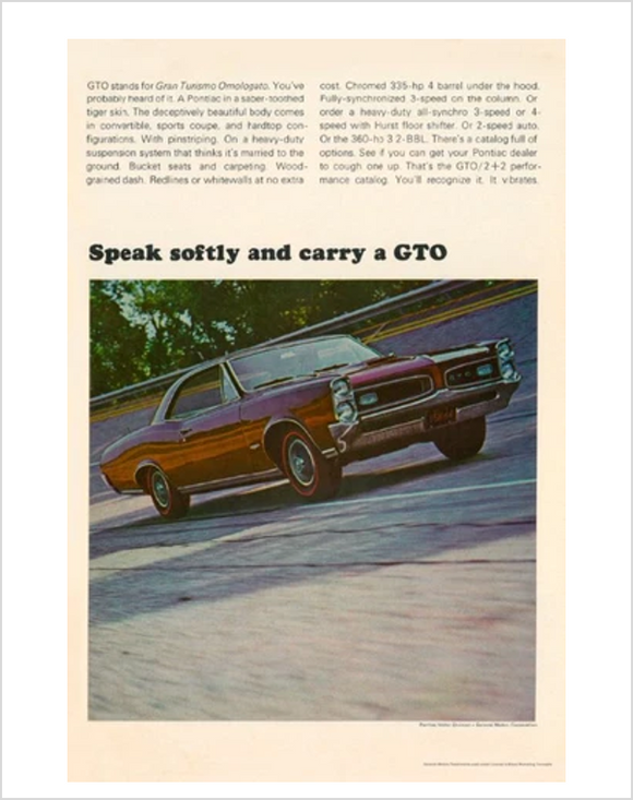 1966 GTO Speak Softly GM ad Banner or Metal sign