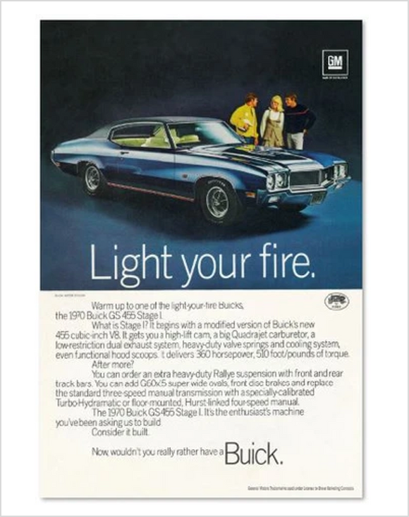 1970 Buick GS Blue Coupe GM ad Banner or Metal sign