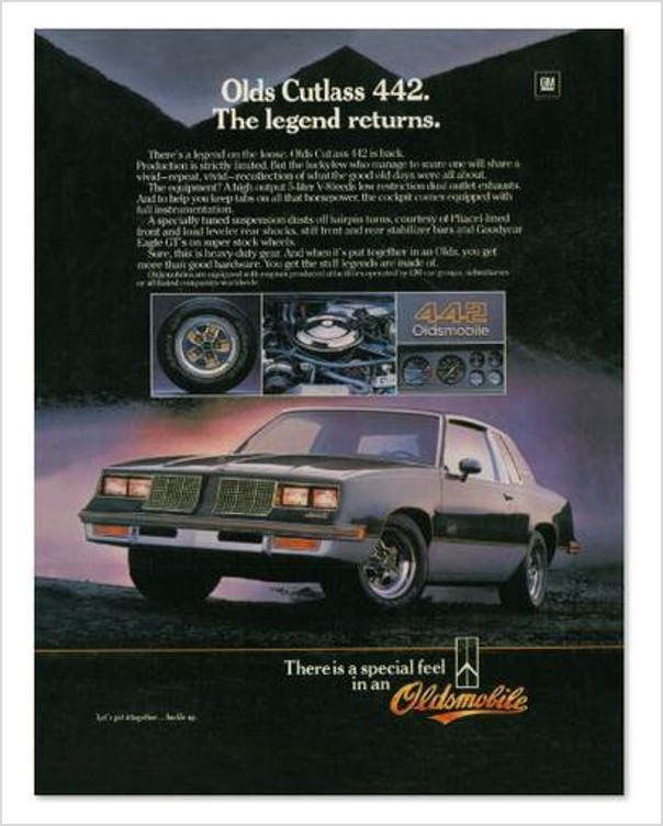1983 Oldsmobile 442 The Legend Returns GM ad Banner or Metal sign