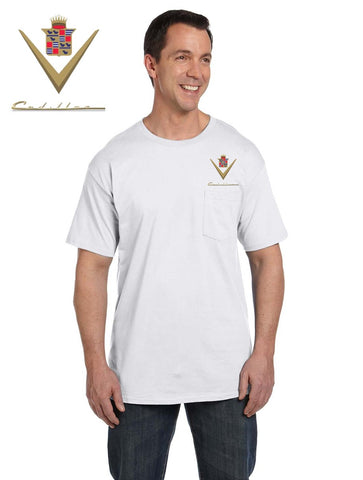Cadillac 40's Pocket T-shirt (embroidered logo on front)
