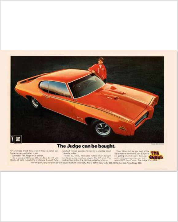 Pontiac GTO Judge Can be bought GM ad Banner or Metal sign