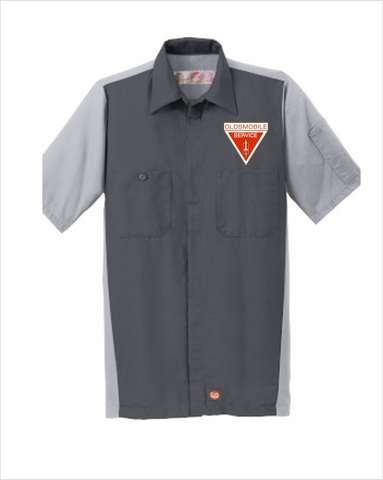 Oldsmobile Service Red Kap Short Sleeve Two-Tone Mechanic Shirt
