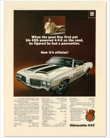 1970 Oldsmobile 442 Pace Car Convertible GM ad Banner or Metal sign