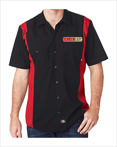 Oldsmobile 442 tri-color Dickies Regular Fit Short Sleeve Two-Tone Work Shirt