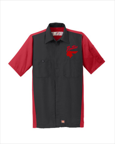Pontiac 40's Script Red Kap Short Sleeve Two-Tone Mechanic Shirt
