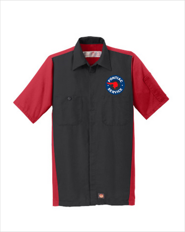 Pontiac Service Red Kap Short Sleeve Two-Tone Mechanic Shirt