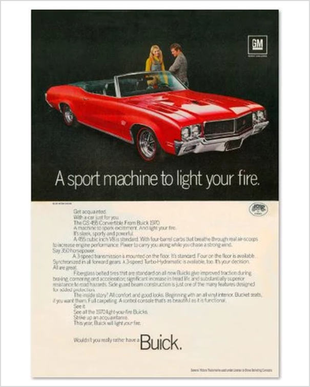 1970 Buick GS Red Convertible GM ad Banner or Metal sign