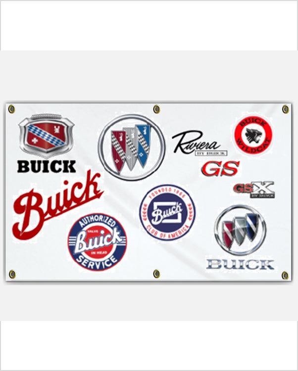 Buick Badges through the years 5x3' Banner