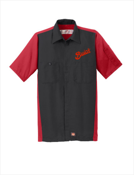 Buick Script Red Kap Short Sleeve Two-Tone Mechanic Shirt