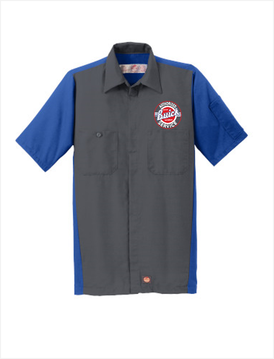 Buick Service Red Kap Short Sleeve Two-Tone Mechanic Shirt