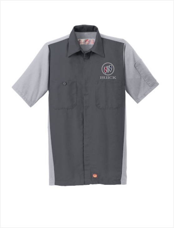 Buick Shield Red Kap Short Sleeve Two-Tone Mechanic Shirt