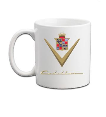 Cadillac & LaSalle coffee mugs- Vintage Badges and CLC Regions