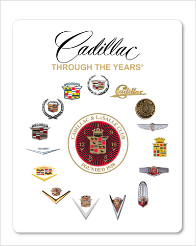Cadillac Through the Years (round design) Metal Sign 12 x 18""