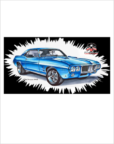 The Art of Pete Teumer Midwest Firebirds T-Shirt 1969 Firebird Blue