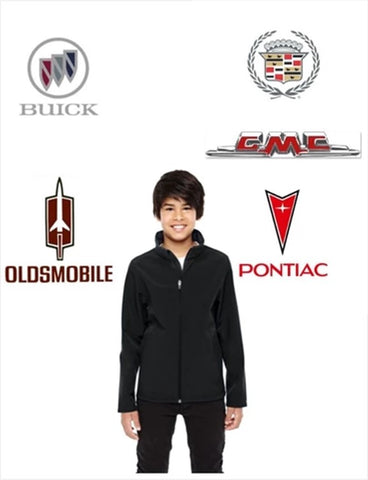 Kids soft shell jacket with GM badges