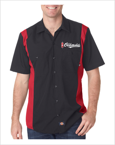 Oldsmobile Script Dickies Regular Fit Short Sleeve Two-Tone Mechanics Shirt