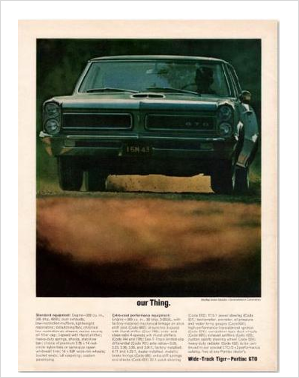 "Pontiac GTO ""Our Thing"" GM ad Banner or Metal sign"