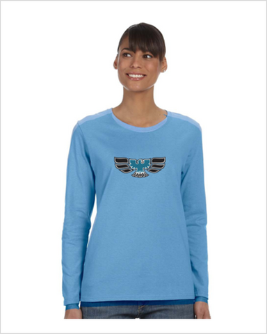 Pontiac 70's Firebird Ladies' 5.3 oz. Gildan Heavy Cotton Missy Fit Long-Sleeve T-Shirt