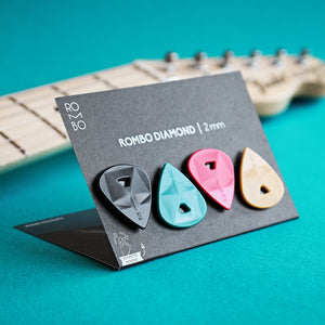 guitar pick set rombopicks diamond coloured