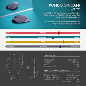 Guitar Pick Set Rombo Origami Eco-Black (4 Guitar Picks) - 0,75 mm - ROMBO