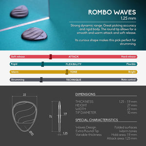 Guitar Pick Set Rombo Waves Eco-Black (4 Guitar Picks) - 1,25 mm - ROMBO