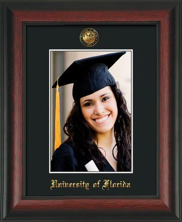 University of Florida 5 x 7 Photo Frame - Rosewood - w/Official Embossing of UF Seal & Name - Single mat